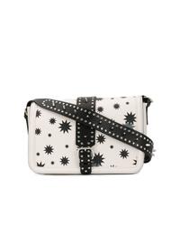 Bolso bandolera de cuero de estrellas en blanco y negro de RED Valentino