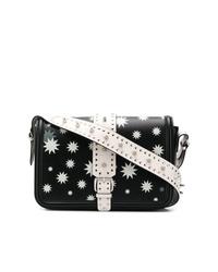 Bolso bandolera de cuero de estrellas en negro y blanco de RED Valentino