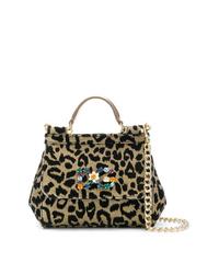 Bolso bandolera de cuero de leopardo dorado de Dolce & Gabbana