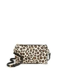 Bolso bandolera de cuero de leopardo marrón claro