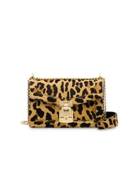 Bolso bandolera de cuero de leopardo marrón claro de Miu Miu