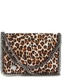 Bolso bandolera de cuero de leopardo marrón claro de Stella McCartney