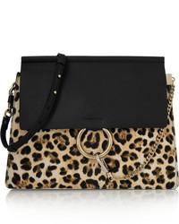Bolso bandolera de cuero de leopardo negro
