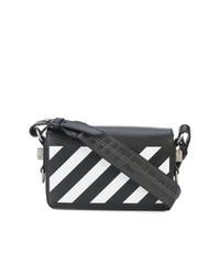 Bolso bandolera de cuero de rayas horizontales en negro y blanco de Off-White