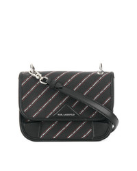 Bolso bandolera de cuero de rayas verticales negro de Karl Lagerfeld