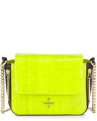 Bolso bandolera de cuero en amarillo verdoso