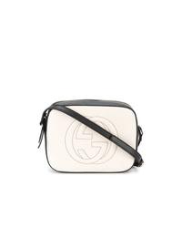Bolso bandolera de cuero en blanco y negro de Gucci