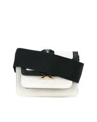 Bolso bandolera de cuero en blanco y negro de Marni