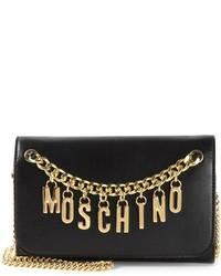 Bolso bandolera de cuero en negro y dorado de Moschino