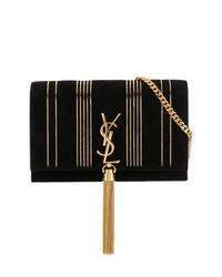 Bolso bandolera de cuero en negro y dorado de Saint Laurent