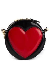 Bolso bandolera de cuero en rojo y negro