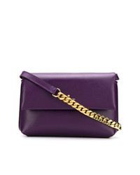 Bolso bandolera de cuero en violeta de Philippe Model