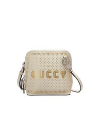 Bolso bandolera de cuero estampado blanco de Gucci