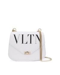 Bolso bandolera de cuero estampado blanco de Valentino