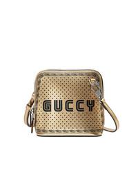 Bolso bandolera de cuero estampado dorado de Gucci