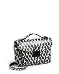 Bolso bandolera de cuero estampado en negro y blanco