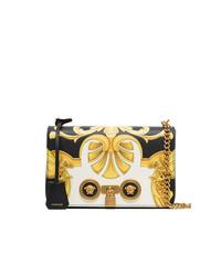 Bolso bandolera de cuero estampado en negro y blanco de Versace