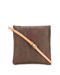Bolso bandolera de cuero estampado marrón de Etro
