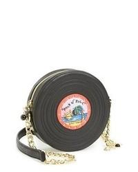 Bolso bandolera de cuero estampado negro