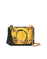 Bolso bandolera de cuero estampado negro de Versace