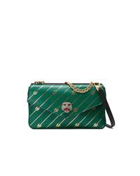 Bolso bandolera de cuero estampado verde de Gucci
