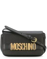 Bolso bandolera de cuero negro de Moschino