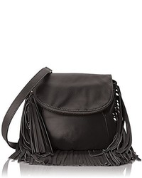 Bolso Bandolera de Cuero Сon Flecos Negro de Cynthia Vincent