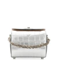 Bolso bandolera de cuero plateado de Alexander McQueen