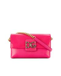 Bolso bandolera de cuero rosa de Dolce & Gabbana