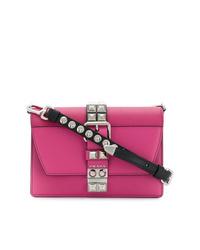 Bolso bandolera de cuero rosa de Prada