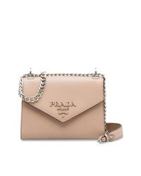 Bolso bandolera de cuero rosado de Prada