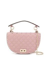Bolso bandolera de cuero rosado de Valentino
