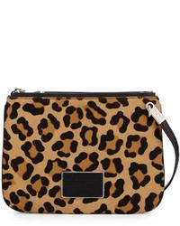 Bolso bandolera de pelo de becerro de leopardo en negro y marrón claro