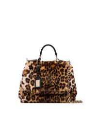Bolso bandolera de pelo de leopardo marrón de Dolce & Gabbana