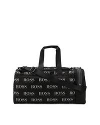 Bolso baúl de lona en negro y blanco de BOSS HUGO BOSS
