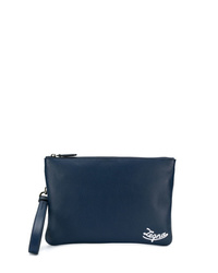 Bolso con cremallera de cuero azul marino de Ermenegildo Zegna