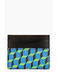 Bolso con cremallera de cuero con estampado geométrico azul