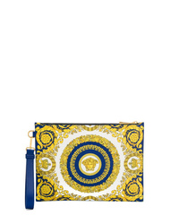Bolso con cremallera de cuero estampado amarillo de Versace
