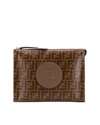 Bolso con cremallera de cuero estampado en marrón oscuro de Fendi