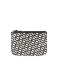 Bolso con cremallera de cuero estampado en negro y blanco