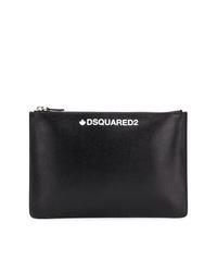 Bolso con cremallera de cuero estampado negro de DSQUARED2