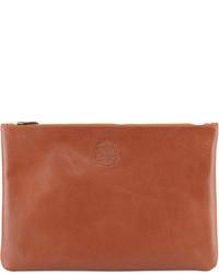 Bolso con cremallera de cuero marrón