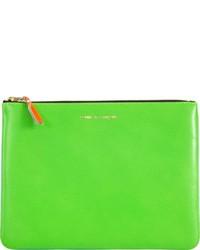Bolso con cremallera de cuero verde