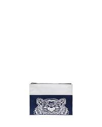 Bolso con cremallera de lona bordado azul marino de Kenzo