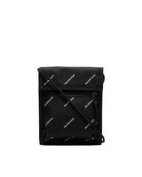 Bolso con cremallera de lona estampado negro de Balenciaga
