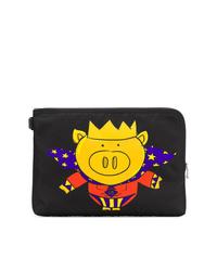 Bolso con cremallera de lona estampado negro de Dolce & Gabbana