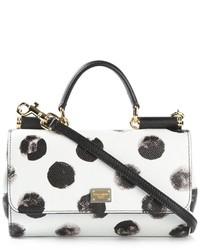 Bolso de hombre de cuero a lunares en blanco y negro de Dolce & Gabbana