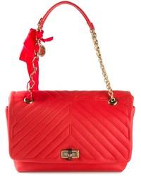 Bolso de hombre de cuero acolchado rojo de Lanvin