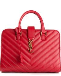 Bolso de hombre de cuero acolchado rojo de Saint Laurent