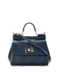 Bolso de hombre de cuero azul marino de Dolce & Gabbana